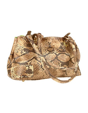 Two-in-One Python Stamped Leather & Lime Suede Satchel Bag